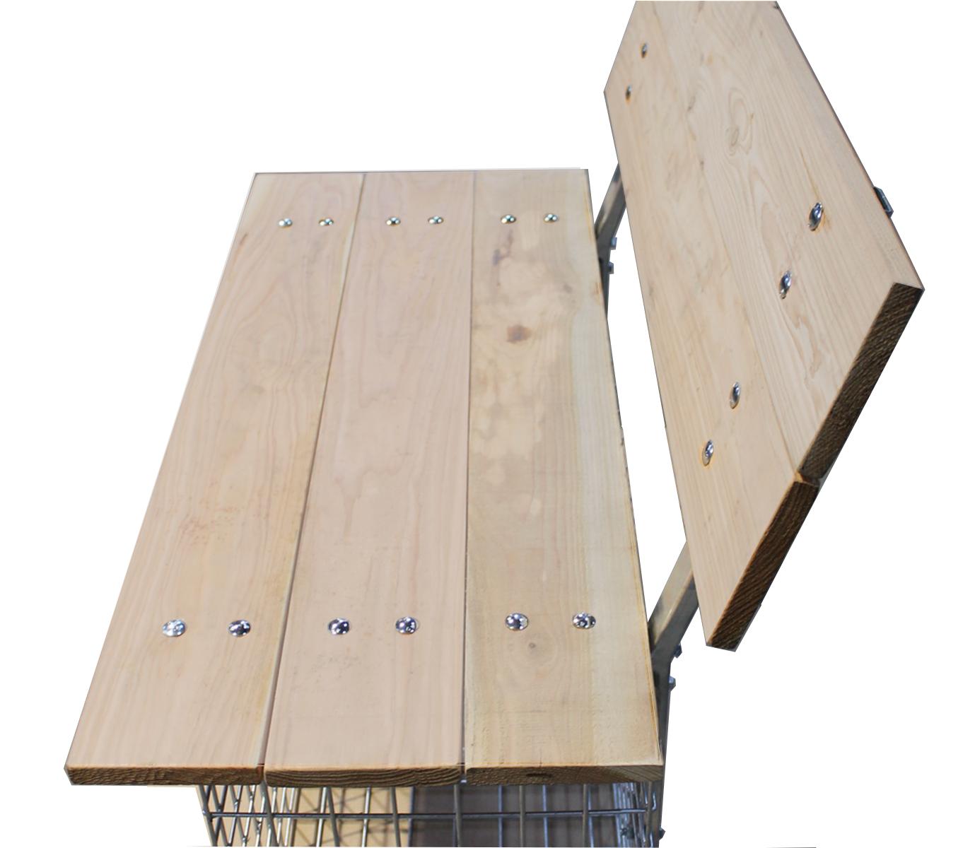 Gabionenbank Rückenlehne Auflage Douglasie Holz