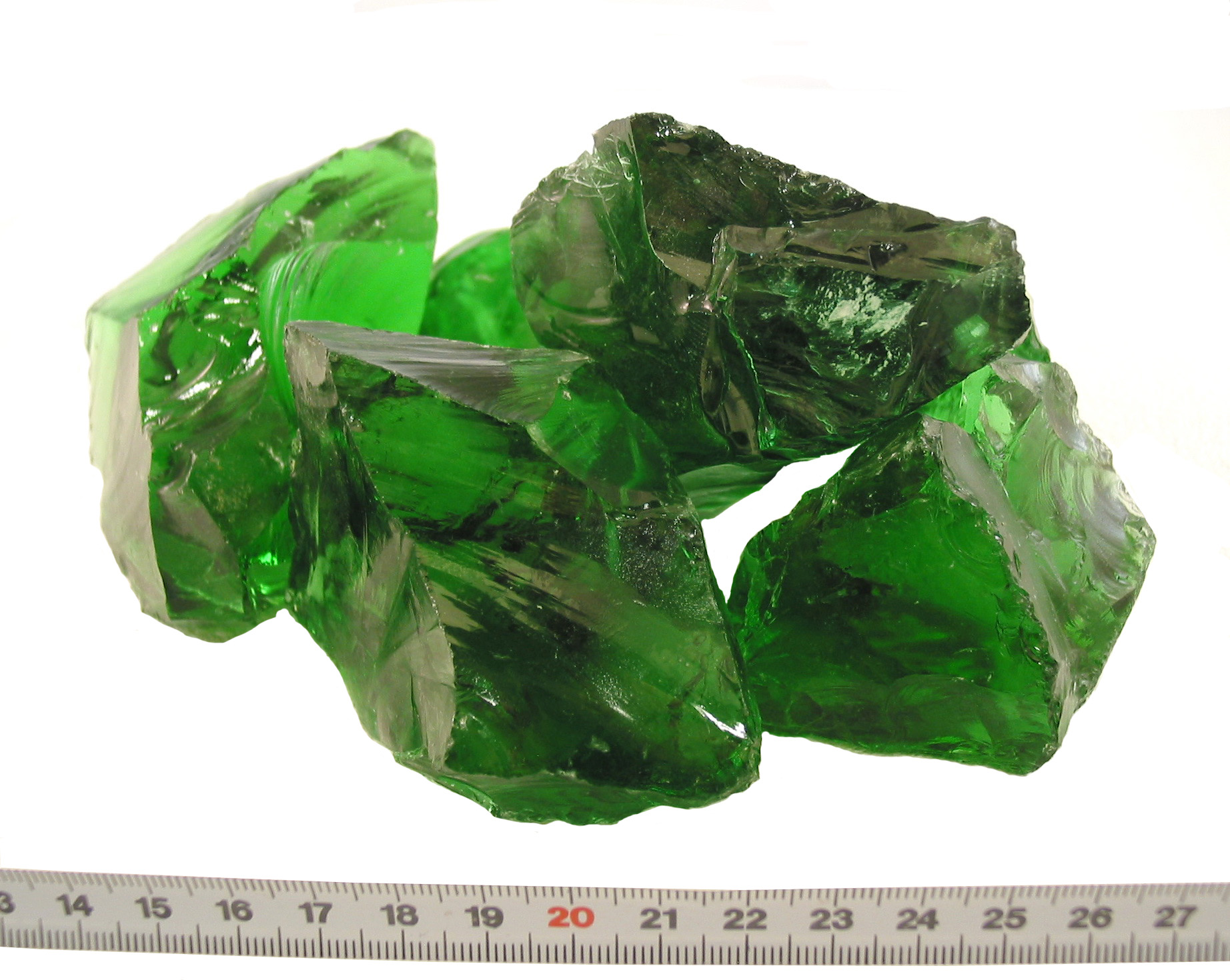 Glas-Brocken Grün 80-120mm