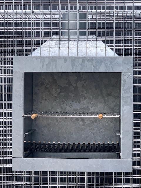 Steinkorb Würfel-Kamin Grill Feuerstelle