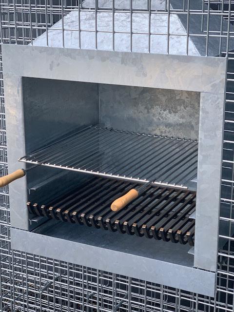 Steinkorb Würfel-Kamin Grillrost